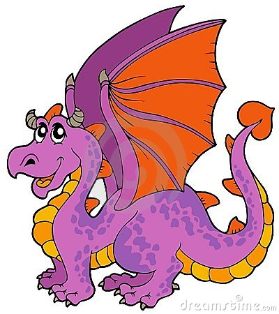 Free Cartoon Dragon With Big Wings Stock Images - 13640604