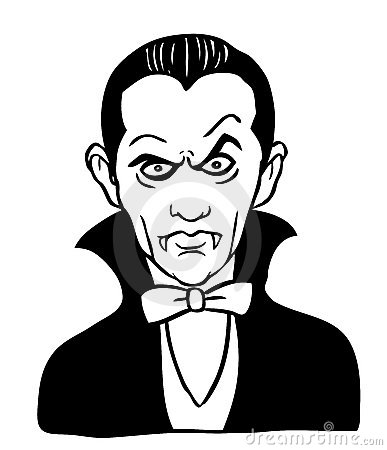 Cartoon drawing of Dracula