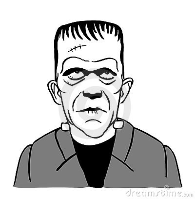 Cartoon drawing of Frankenstein