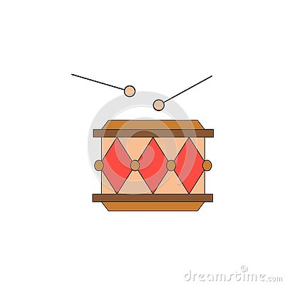 Cartoon drum toy colored icon. Signs and symbols can be used for web, logo, mobile app, UI, UX Vector Illustration