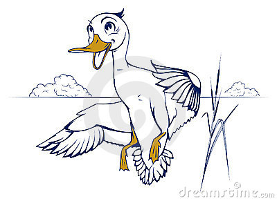 Cartoon duck flight