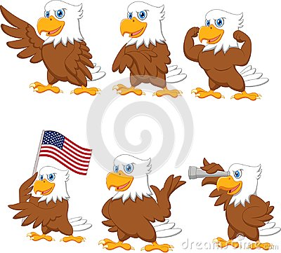 Free Cartoon Eagles Collection Set Royalty Free Stock Image - 123696176