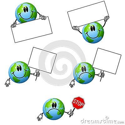 Cartoon Earth Holding Signs