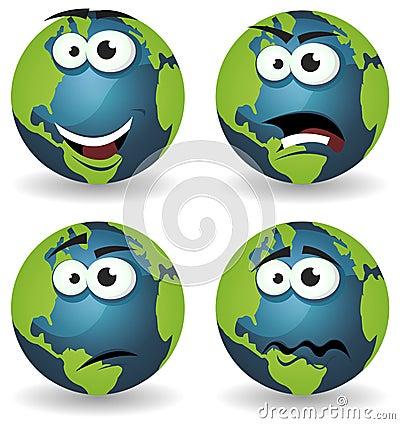 Cartoon Earth Icons Emotions