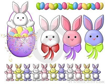 Cartoon Easter Bunnies Clip Art 2