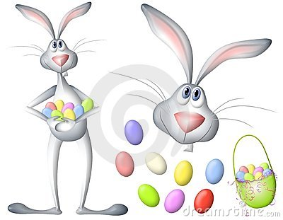 Cartoon Easter Bunny Rabbit And Eggs