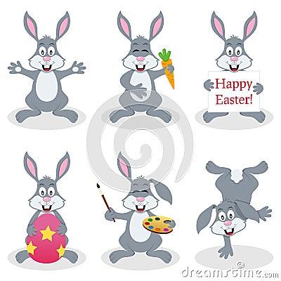 Cartoon Easter Bunny Rabbit Set