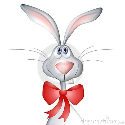 Free Cartoon Easter Bunny Rabbit Wearing Bow Stock Photos - 3996893
