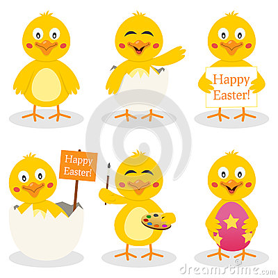Cartoon Easter Cute Chick Set