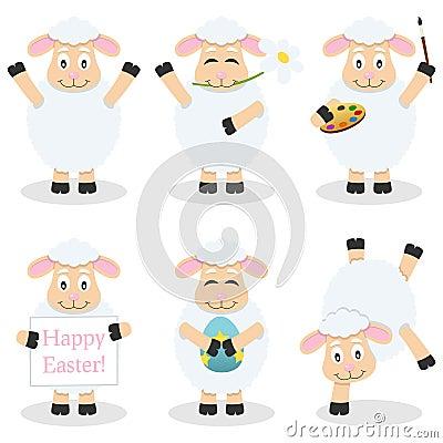 Cartoon Easter Funny Lamb Set