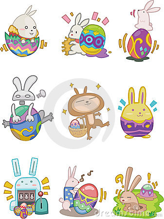 Free Cartoon Easter Rabbit And Egg Icon Stock Image - 17818701