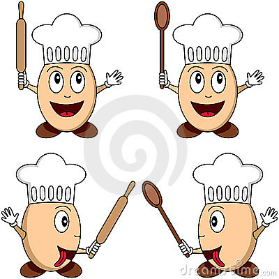 Cartoon Egg Chef Characters