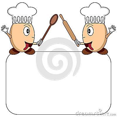 Cartoon Egg Chefs Logo or Menu