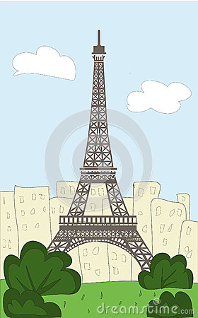 Eiffel Tower Cartoon Picture on Vector Illustration  Cartoon Eiffel Tower  Image  25873970