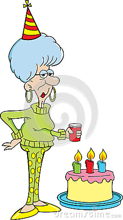 Cartoon elderly women with a birthday cake