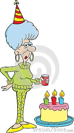 Cartoon elderly women with a birthday cake