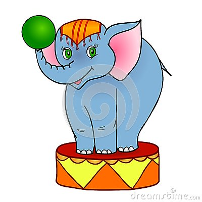Cartoon elephant circus