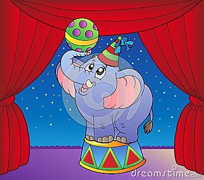 Cartoon elephant on circus stage 1