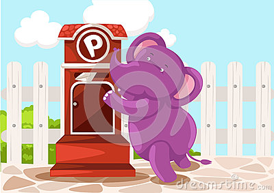 Cartoon elephant sendin letter
