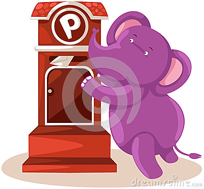 Cartoon elephant sending letter