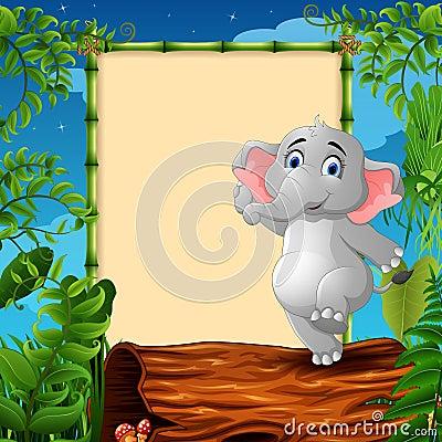Cartoon elephant standing on hollow log near the empty framed signboard Vector Illustration