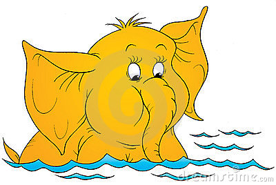 Cartoon elephant in water