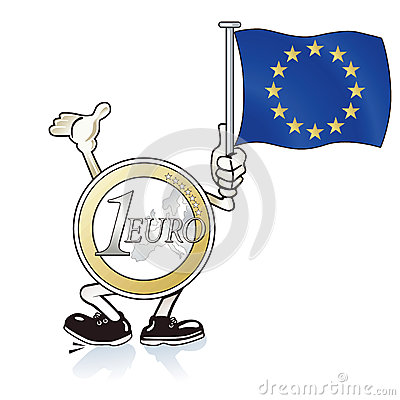 Cartoon Euro coin waving flag