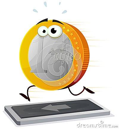 Cartoon Euro Running On A Treadmill