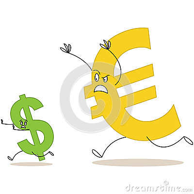 Cartoon euro sign chasing dollar sign