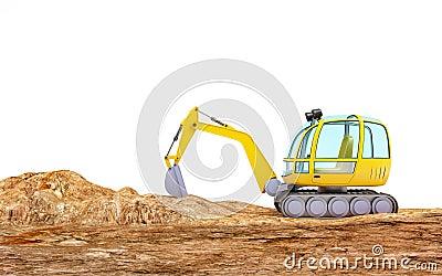 Cartoon Excavator Digging Earth Stock Illustration - Image ...