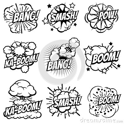 Free Cartoon Explode Icons. Comic Book Explosion Bubbles. Pop Art Big Bang And Boom Smoke Clouds Vector Set Royalty Free Stock Photography - 96725437