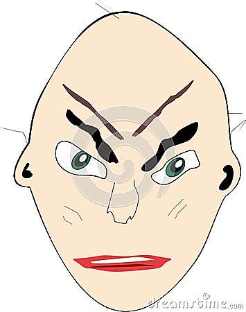 Cartoon face:  Unhappy bald man
