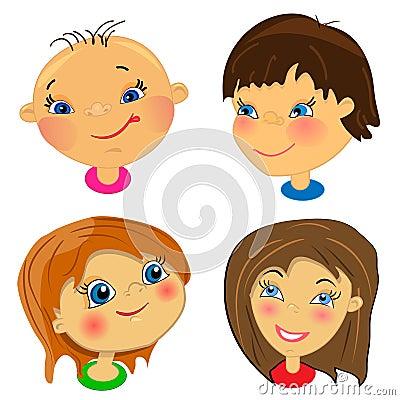 Cartoon faces of kids. set of illustrations