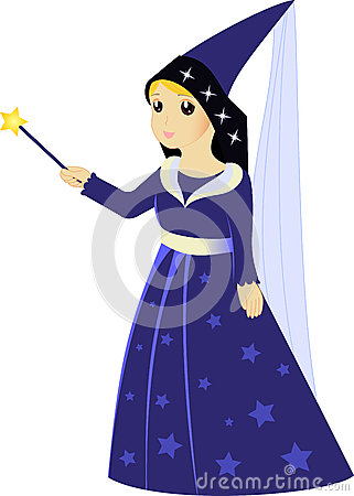 Cartoon fairy sorceress with magic wand