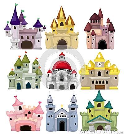 Cartoon Fairy tale castle icon
