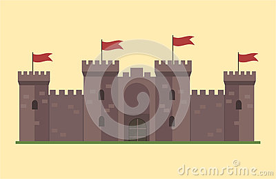 Cartoon fairy tale castle tower icon cute architecture fantasy house fairytale medieval and princess stronghold design Vector Illustration