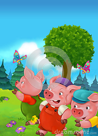 Free Cartoon Fairy Tale Scene With Pigs Doing Different Pigs Stock Images - 68646284