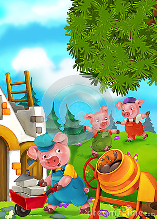 Free Cartoon Fairy Tale Scene With Pigs Doing Different Pigs Royalty Free Stock Photos - 68775318