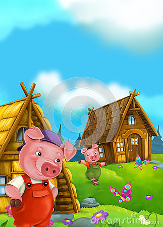 Free Cartoon Fairy Tale Scene With Pigs Doing Different Things Stock Photo - 68888440