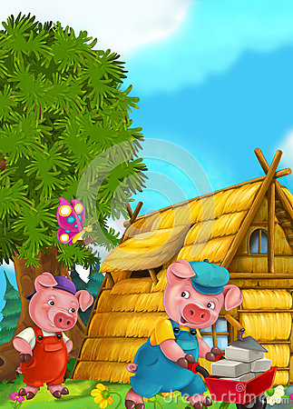 Free Cartoon Fairy Tale Scene With Pigs Doing Different Things Stock Photography - 68888442