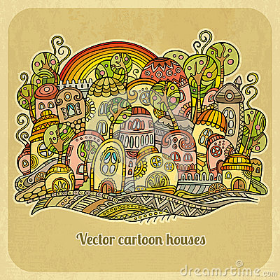 Free Cartoon Fairy-tale Spring Houses. Royalty Free Stock Photography - 39979797