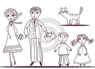 Cartoon family with cat