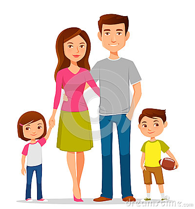 Free Cartoon Family In Colorful Casual Clothes Royalty Free Stock Photos - 54291938