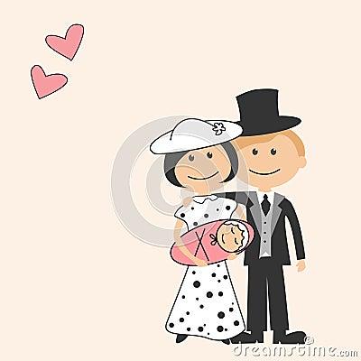 Cartoon family with newborn Vector Illustration