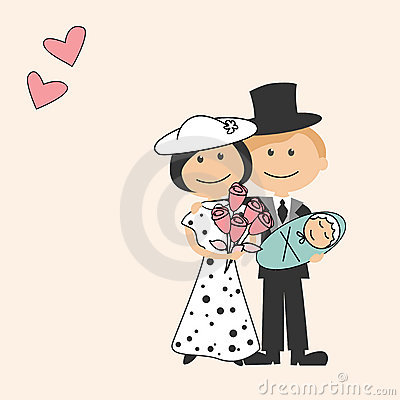 Cartoon family with newborn