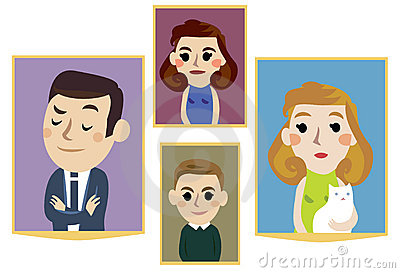 Cartoon family portraits