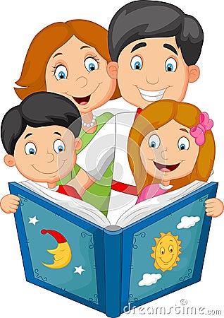 cartoon family read a bedtime story stock vector image
