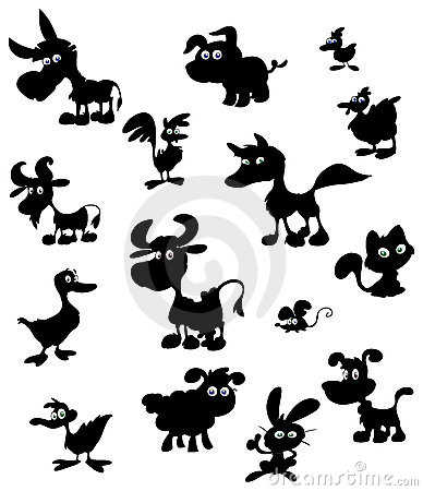 Cartoon farm animal silhouettes