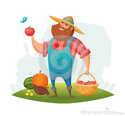 Free Cartoon Farmer Character Design. Rancher Holding A Basket Of Vegetables In His Hand. Vector Illustration. Stock Photo - 99231840