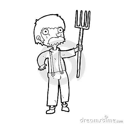 Cartoon Farmer With Pitchfork Royalty Free Stock Photo ...